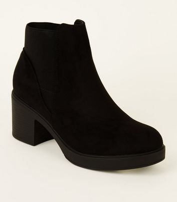 Girls Black Suedette Chunky Chelsea Boots