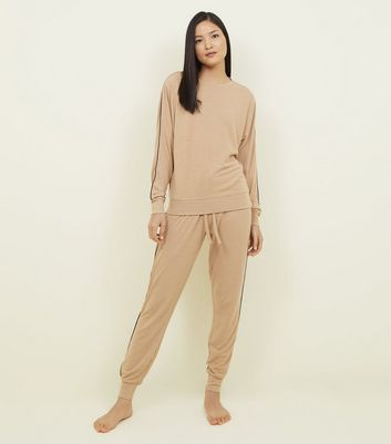 Camel Side Stripe Pyjama Sweatshirt