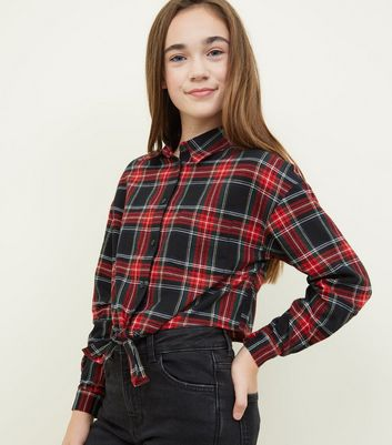 Girls Red Tie Front Check Shirt