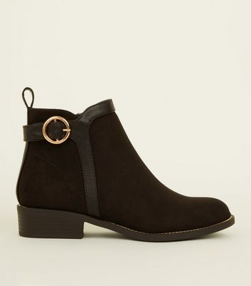 Girls Black Suedette Buckle Ankle Boots