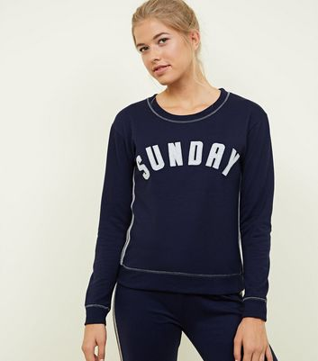 Navy Sunday Metallic Embroidered Slogan Sweatshirt