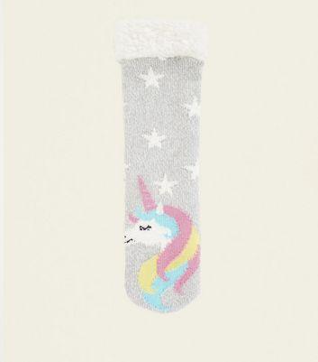 Grey Faux Fur Trim Unicorn Slipper Socks by New Look