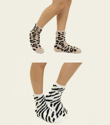 2 Pack Mink Animal Pattern Fluffy Socks New Look