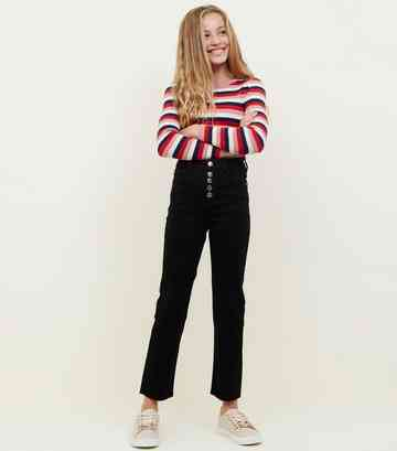 Girls Black High Waist Crop Kick Flare Jeans