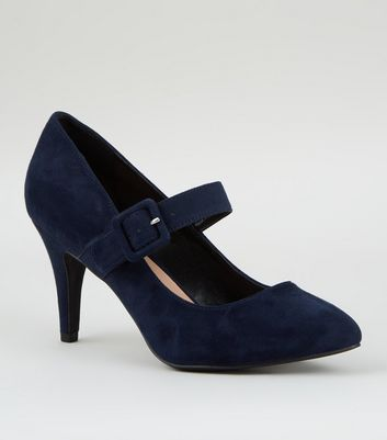 Wide Fit Navy Suedette Buckle Mary Jane Courts