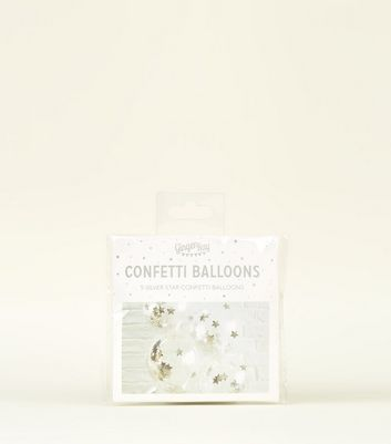 Silver Confetti Star Filled Balloons