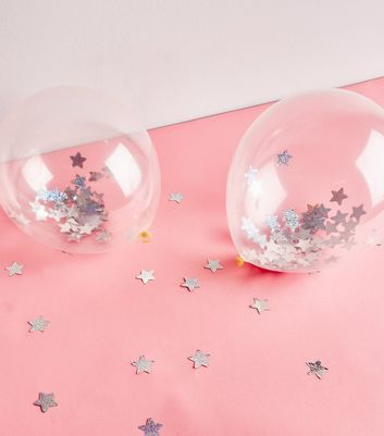 Silver Holographic Star Confetti Balloons