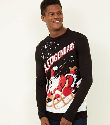 Black Sledgendary Slogan Christmas Jumper