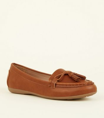 Wide Fit Tan Leather-Look Tassel Loafers