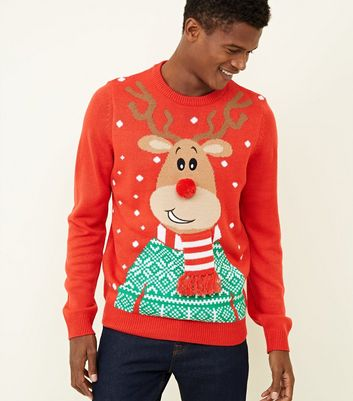 Red Knit Pom Pom Reindeer Christmas Jumper