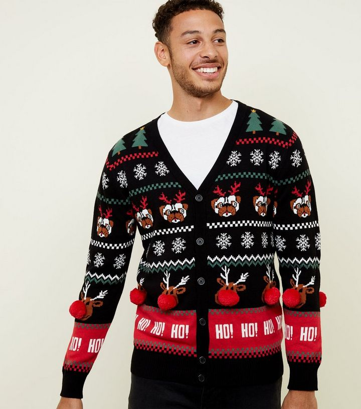 Christmas Cardigan.Black Pom Pom Trim Christmas Cardigan Add To Saved Items Remove From Saved Items