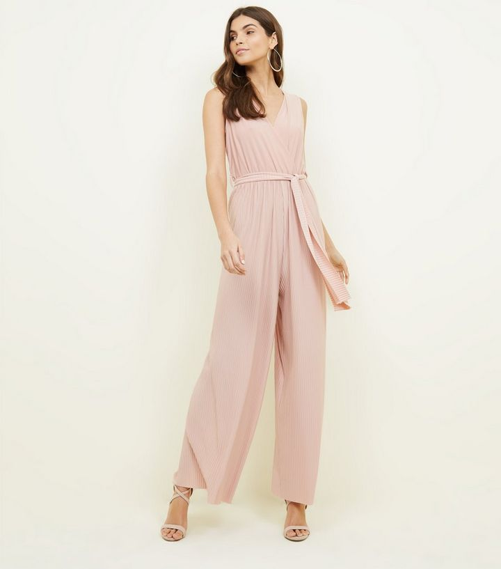 4be47828e36 Cameo Rose Pink Pleated Tie Waist Jumpsuit