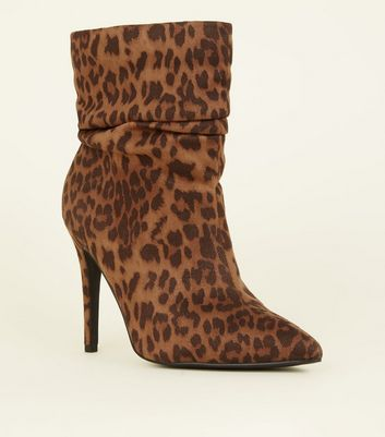 Wide Fit Tan Leopard Print Stiletto Slouch Boots