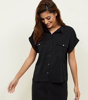 Black Twill Short Sleeve Utility Shirt