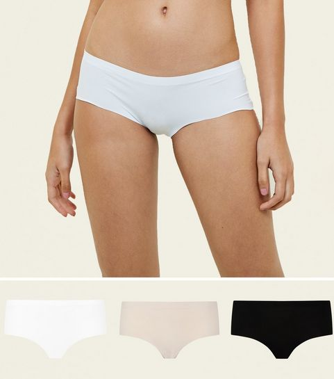 6c12d4f8ba602 ... 3 Pack Nude White and Black Seamless Short Briefs ...