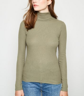 Khaki Ribbed Roll Neck Top