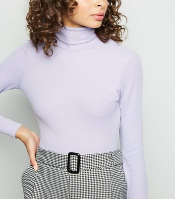 Lilac Ribbed Roll Neck Top