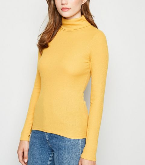 784b8530ddb66c ... Mustard Ribbed Roll Neck Top ...