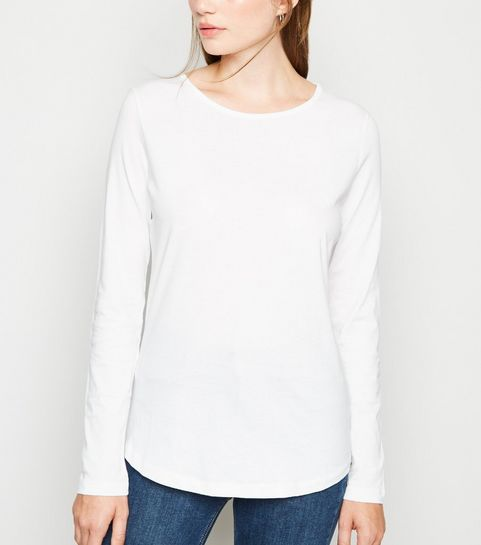 67ca1a29d5885 ... White Long Sleeve Crew Neck T-Shirt ...
