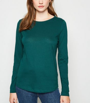 Dark Green Long Sleeve Crew Neck T-Shirt