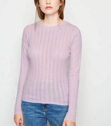 Light Purple Ribbed Long Sleeve T-Shirt