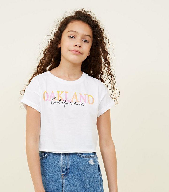 3e1f922ae52e7e Girls White Oakland Check Slogan T-Shirt | New Look
