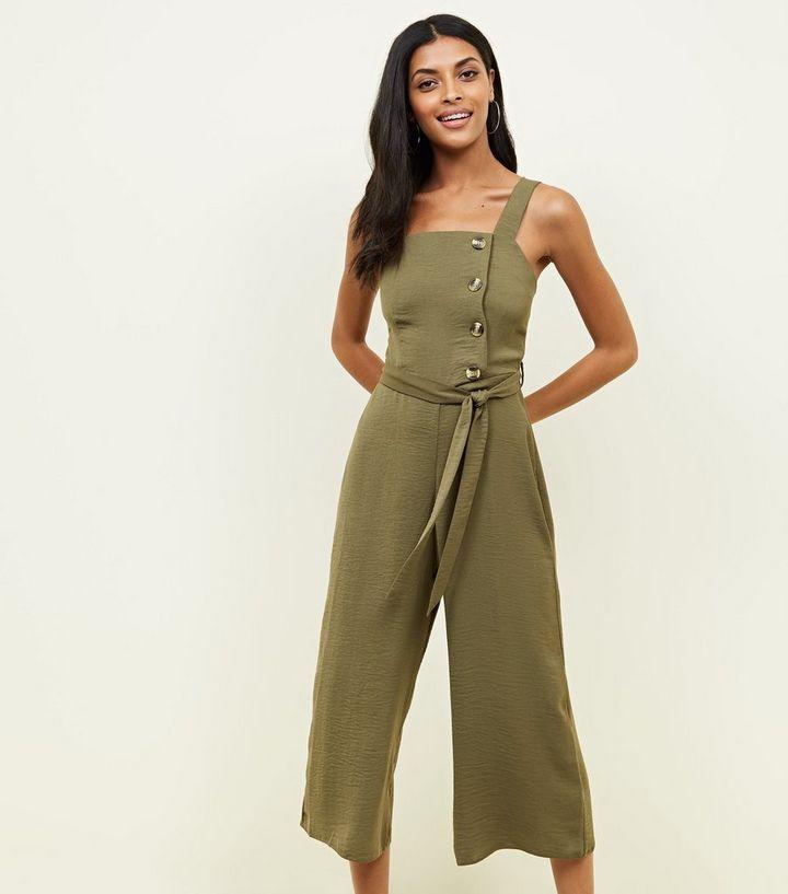 15a8846a841 Khaki Linen-Look Button Side Jumpsuit