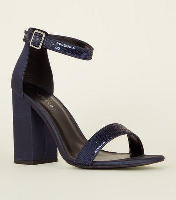 Navy Metallic Sequin Strap Block Heels