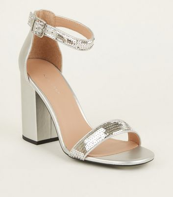 Silver Metallic Sequin Strap Block Heels