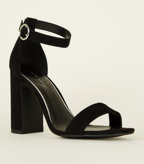 ... Black Suedette Ring Strap Block Heels ... 0df55b901b3c