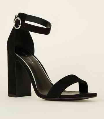 ff0f8ce81 Black Suedette Ring Strap Block Heels ...