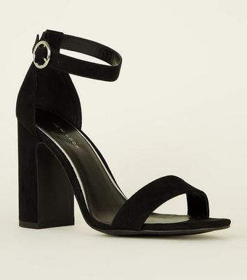 Black Suedette Ring Strap Block Heels