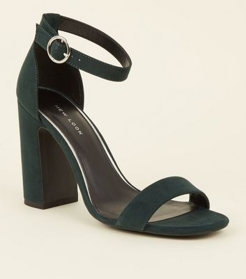 Dark Green Suedette Ring Strap Block Heels