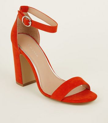 Orange Suedette Ring Strap Block Heels