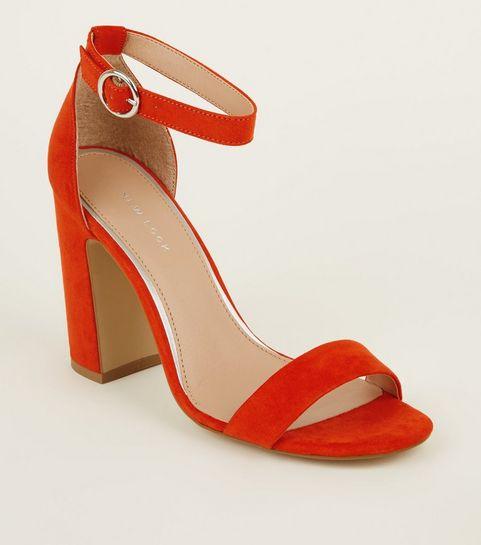 ... Orange Suedette Ring Strap Block Heels ...