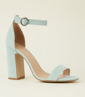 Mint Green Suedette Barely There Block Heels