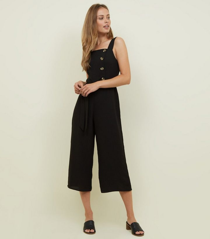 b007acee6a Black Linen-Look Button Side Culotte Jumpsuit