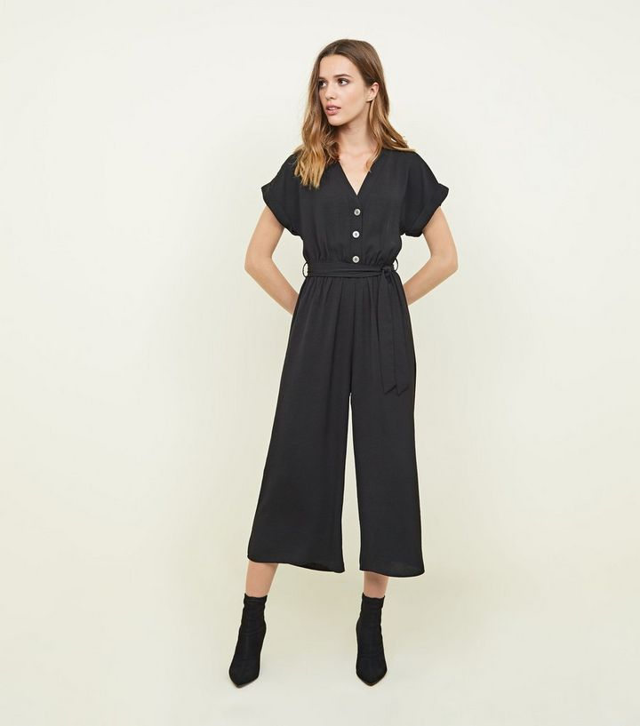 9d3ab12de0e Black Button Front Linen-Look Jumpsuit | New Look
