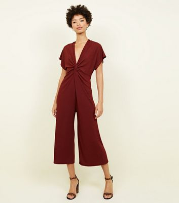 Rust Ribbed Twist Front Culotte Jumpsuit