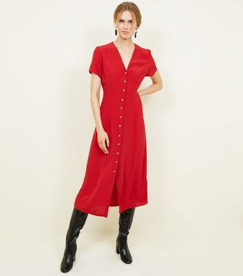 Red Button Front Midi Tea Dress