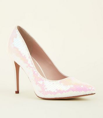 Off White Sequin Embellished Pointed Courts