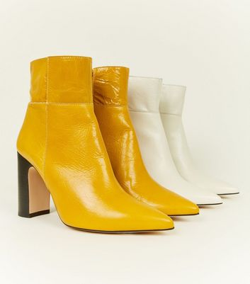 Mustard Premium Leather Block Heel Boots Add to Saved Items Remove from Saved Items