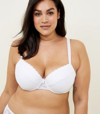 Curves White Lace Bra