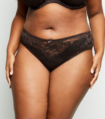 Curves Dark Brown Lace Brazilian Briefs