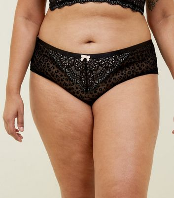 Curves Black Flocked Leopard Print Brazilian Briefs