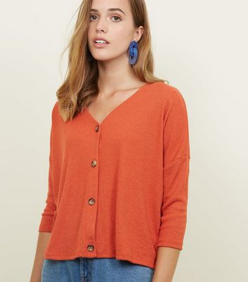 Orange Ribbed Button Front 3/4 Sleeve Top