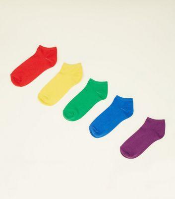 5 Pack Rainbow Trainer Socks New Look
