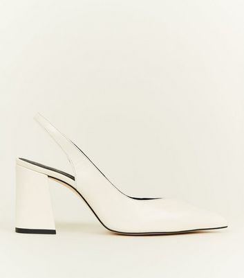 Off White Premium Leather Slingback Courts
