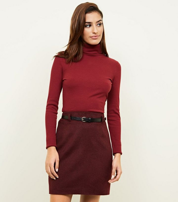 757af49ed Plum Belted Brushed Twill A-Line Skirt | New Look
