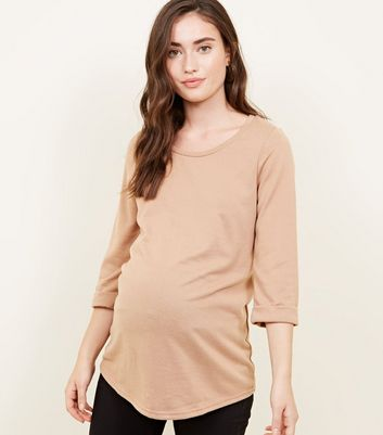 Maternity Camel 3/4 Sleeve Fine Knit Top